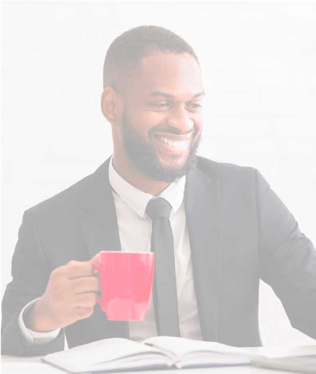 Business man drinking coffee from signia invest red coffee cup