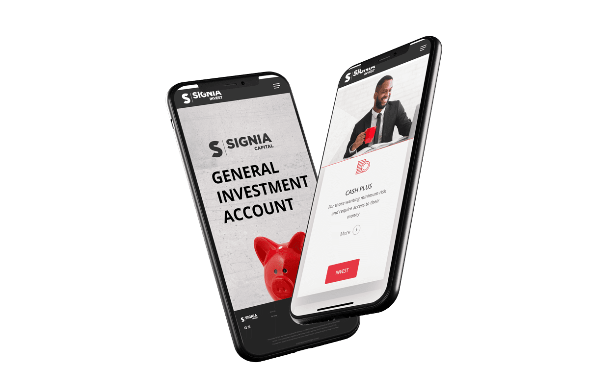 Signia Invest General Investment page showing on a mobile phone